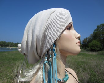 Lightweight Summer Slouchy Beanie Hat Long Back Tube Tam White Cotton A1299