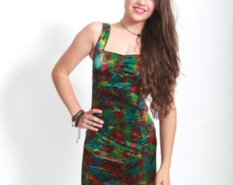 Vintage 1980s does sixties mini red and green evening wiggle dress