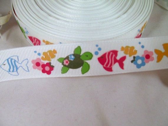 Tropical Fish Grosgrain Ribbon 7/8""