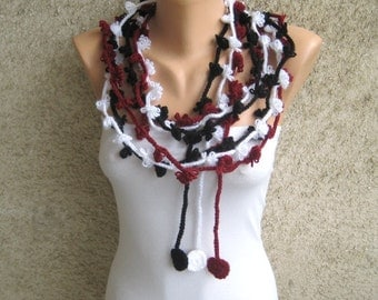 Crochet Scarf Lariat, Floral Necklace Black Burgundy White, Trendy Women Accessories, Bohemian Flower Scarflette Belt Headband, Womens Gift