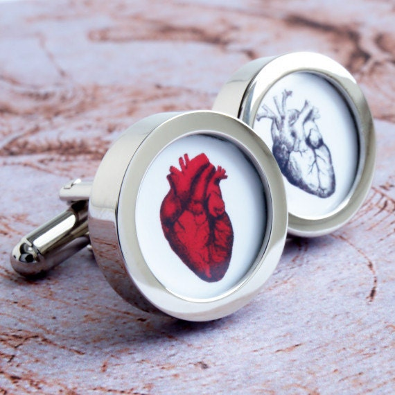 Anatomical Heart Cufflinks Valentines Gift for Him Gift for Men Weddings Grooms Anniversary Groomsmen and Romantic of Heart PC083