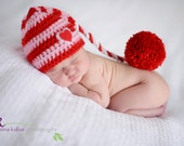 Newborn Baby Girl Photo Prop Pink and Red Hat