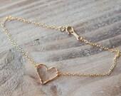 Gold Hammered Heart Anklet - 14k Gold Filled or Rose Gold Filled - Simple Anklet - Summer Beach Anklet