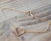Gold Hammered Heart Anklet - 14k Gold Filled or Rose Gold Filled - Simple Anklet - Summer Beach Anklet - Mother's Day Gift