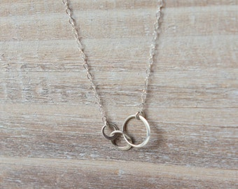 Past, Present, Future Necklace - 3 Linked Circles - Sterling Silver - Simple Everyday Necklace - Layering Necklace - Valentine's Day Gift