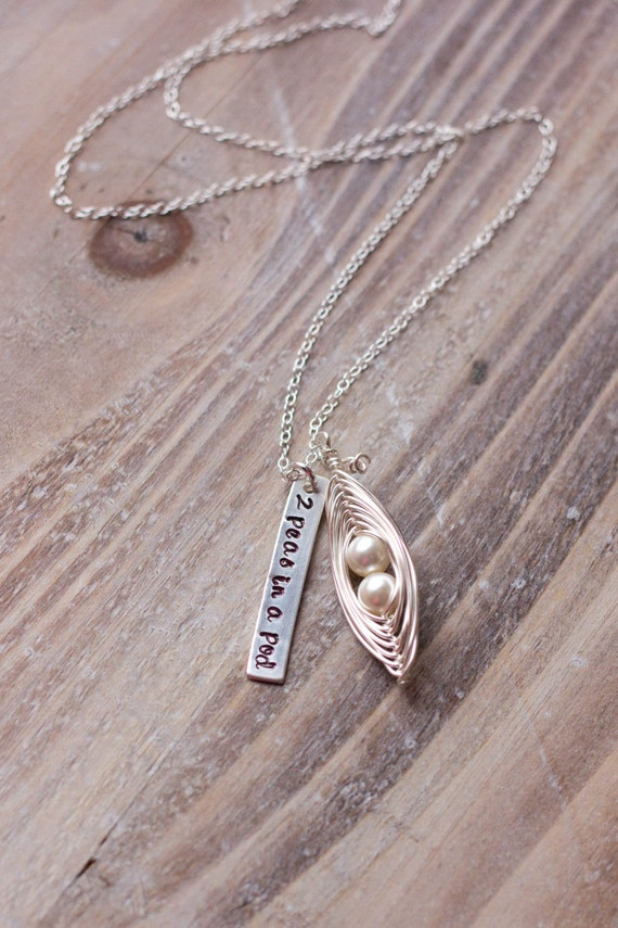 Two Peas in a Pod Necklace - Hand Stamped - Wire Wrapped Pea Pod Necklace - Twins Necklace