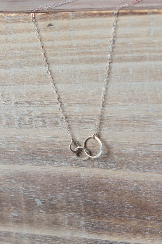 Past, Present, Future Necklace - 3 Linked Circles - Sterling Silver - Simple Everyday Necklace - Layering Necklace - Christmas Gift