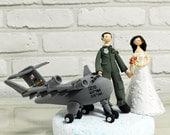 Custom Wedding Cake Topper - Pilot, Cargo plane, Air force - decoration, gift