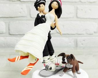 Ski, snow board mania couple wedding cake topper gift decoration