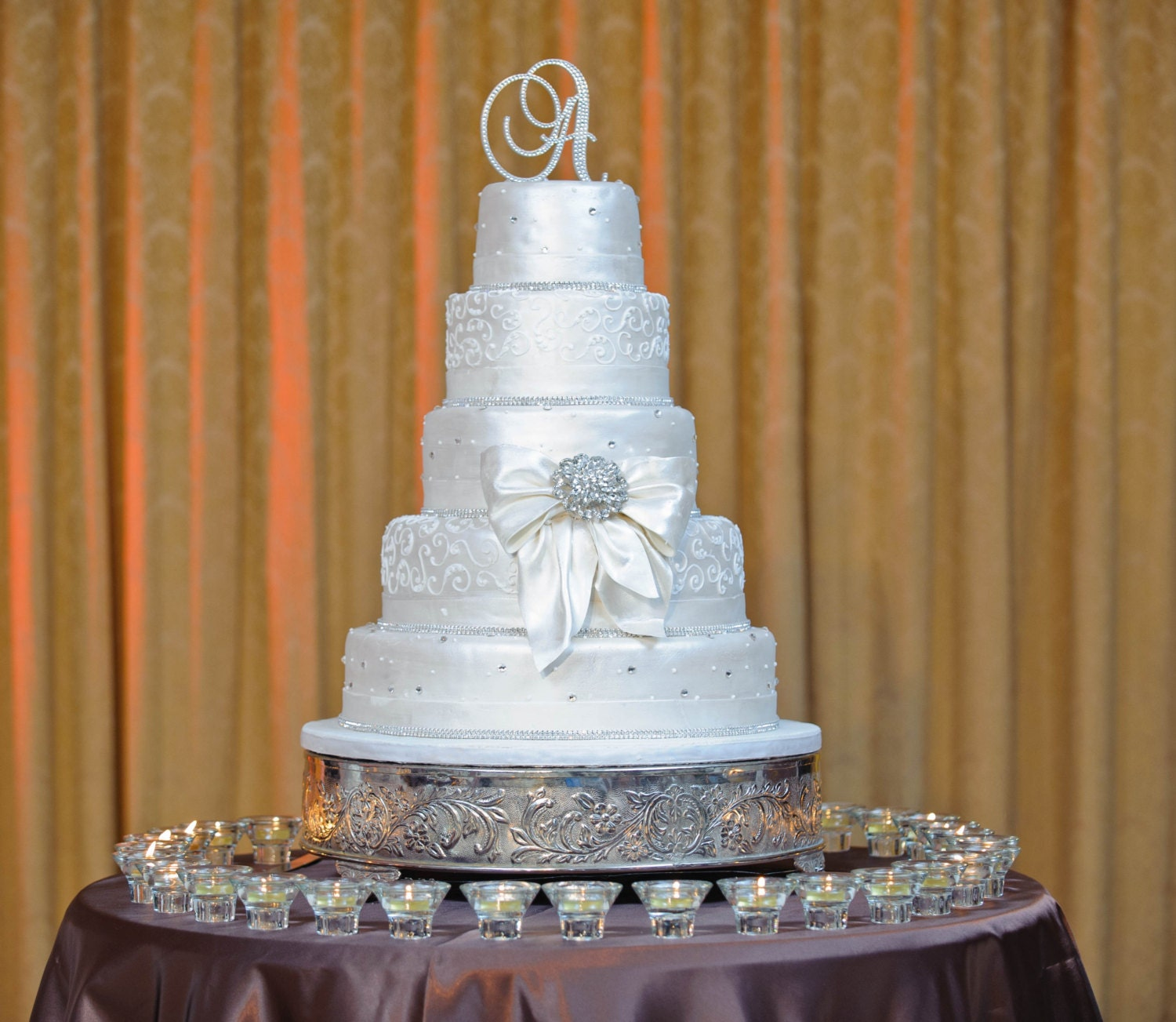 Items similar to Crystal Monogram Wedding Cake Toppers