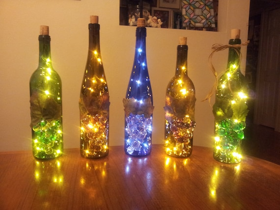 Upcycled wine bottle lamp night light accent piece for Champagne bottle lamp