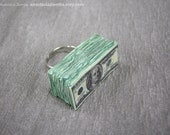 Money Magnet Ring, adjustable, real magnet inside, hundred dollar bill stack, fun way to attract money