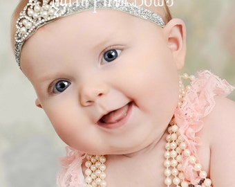 Baby Headband, Crystal & Pearl Tiara Headband, Baby Tiara, Princess Headband,Baptism headband, Christening Headband,Baby crown headband, #18