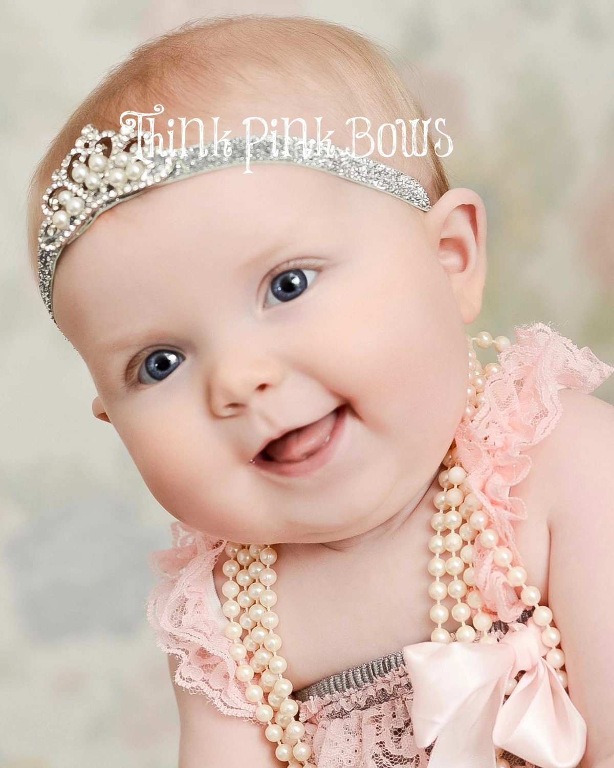 Baby Headband, Crystal  Pearl Tiara Headband, Baby Tiara, Princess Headband,Baptism headband, Christening Headband,Baby crown headband, 18