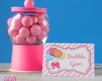 Lollipop Party Buffet Labels INSTANT DOWNLOAD Food Labels by 505 Design Inc