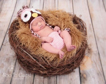 Crochet Baby Owl Hat and Diaper Cover Set Newborn Chocolate/Soft Pink MADE TO ORDER