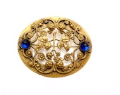Antique Victorian Sash Pin Large Brooch Brass and Blue Rhinestones
