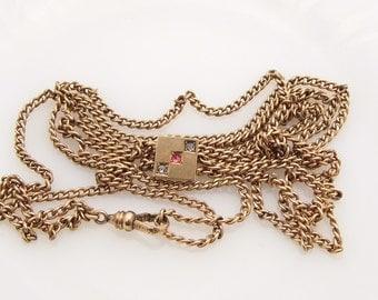 Antique Gold Filled Victorian Ladies Watch Chain Paste Rhinestone Slide