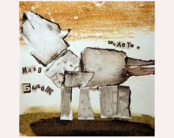 art original Bull Ox Calf Dog animal home decor illustration mixed media MATTED square