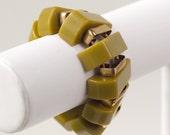 Vintage Bakelite Stretch Bracelet with Brass