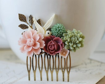 Sage Green and Dusky Pink Flowers Collage Hair Comb. Brass Leaf  Ivory Bird Wedding Bridal Hair Comb
