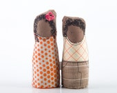 little twins dolls - boy and girl , Africans,  curly brother and sister wearing retro plaid and striped dotted- handmade fabric doll