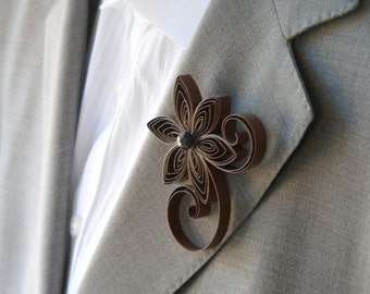 Rustic Wedding, Brown Boutonniere, Brown Wedding, Boutonniere Florist, Buttonhole Wedding, Cocoa Flower Pins for Suits