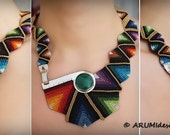 Large colorful asymmetric STATEMENT NECKLACE RAINBOW, fiber silver stone knotted bib necklace, made to order by ARUMIdesign