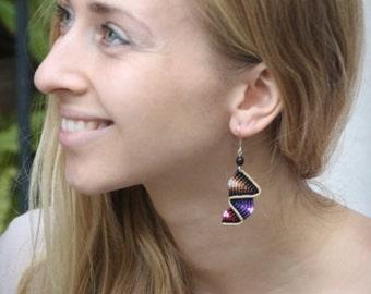 Fiber dangle earrings BEIGE & BROWN RAINBOW with natural seeds and silver hooks, micro macrame earrings