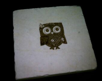 "Tile Coasters, Owl, 4"" x 4"" Tumbled Stone Bird Drink Coasters"