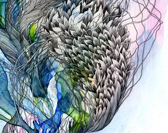 Perched on the edge of bloom, color was not separate from sound / Giclee print / digital print / nature drawing / botanical / abstract / ink