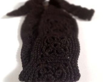 Crochet Headband, Knit Boho Hairband - Black 100 percent Cotton