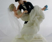 Wedding Cake Topper CUSTOMIZED to your features and attire Hand Sculpted in Clay