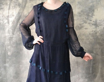 1920s Sheer Navy Silk Flapper Dress