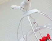 Antique Shabby White Bird Cage-Metal Cage-Votive Holder-Shabby Chic-Rustic Bird Decor-French Decor-Simple