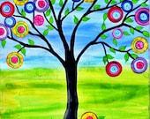 Print of Tree of Life Mexican Folk Art Style Happy Tree Painting  Penny Tree