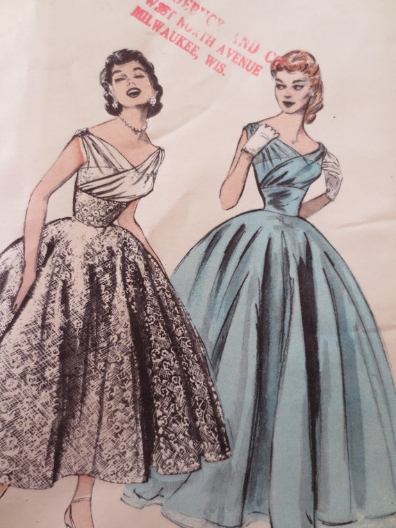 vintage butterick 6810 sewing pattern 1950s formal gowns