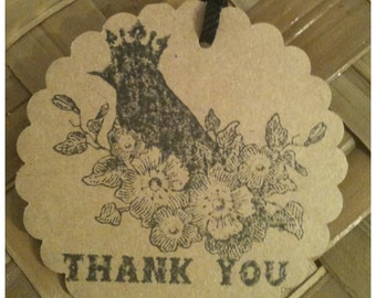 Kraft Card Stock Bird Crown Flowers Thank You Tags Hand Stamped Black Ink Tea Party Wedding Party Favor 3-in Circle Set of 10
