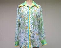 Vintage 1960s VERA Blouse / 60s Floral Vera Neumann Top / Medium