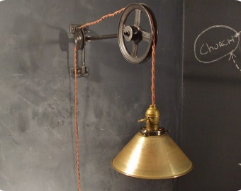 Vintage Industrial Pulley Light - Brass Cone Shade - Industrial Pulley Lamp - Wall Mount Light - Steampunk Sconce - Industrial Lighting
