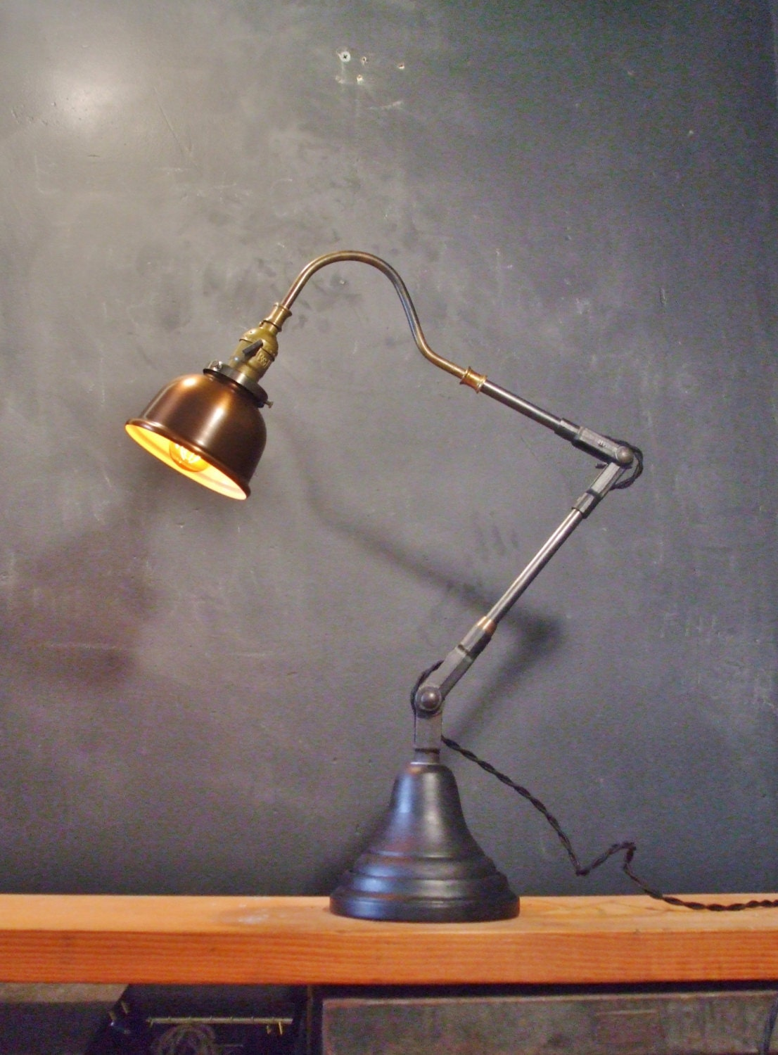 Articulating Lamp Parts Vintage Industrial Desk Lamp w/ Copper Shade Pharmacy Lamp