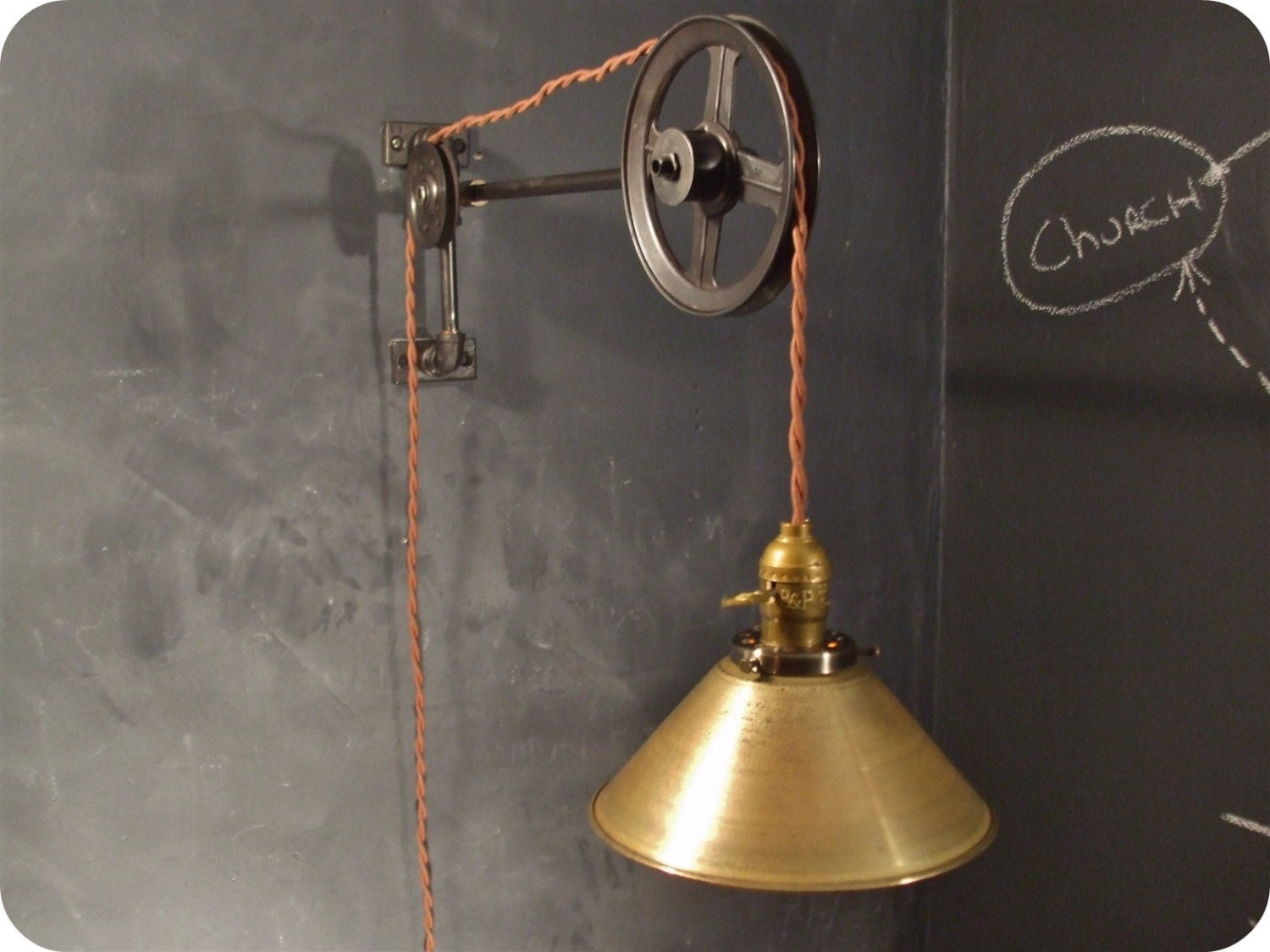 Vintage Industrial Pulley Light Brass Cone Shade