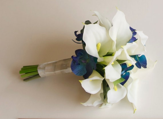 Real touch calla lily and orchid bouquet turquoise