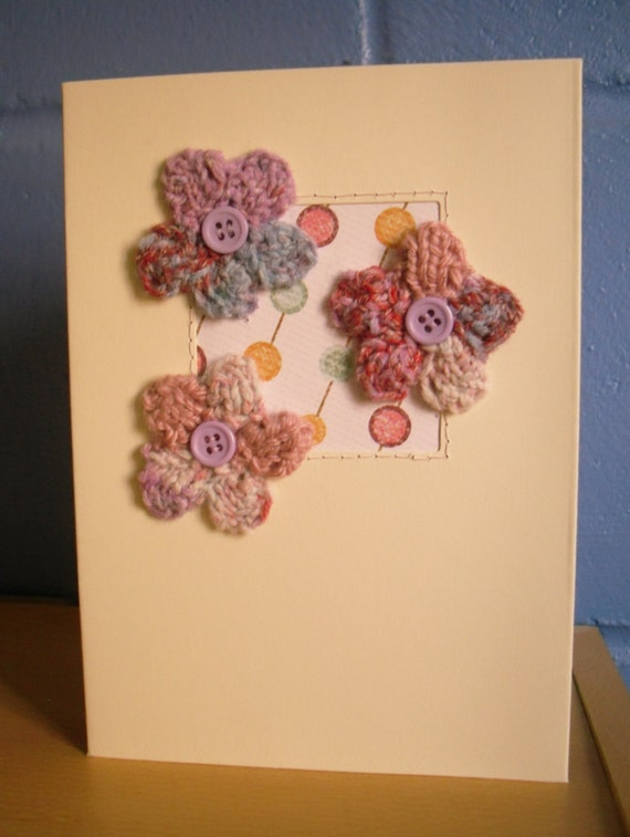 Knitting Birthday Card : Knitted greetings card flower birthday mothers