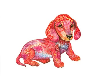 Dachshund Puppy, tiny dog art print, pet illustration, size 10x8 (No. 54)