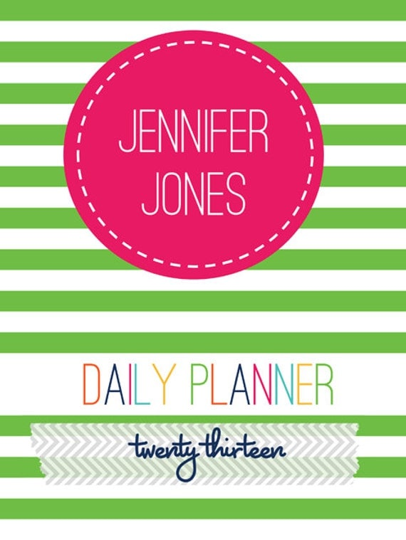2013 Daily Planner PDF Printable w/Personalized Cover - Reduced Price