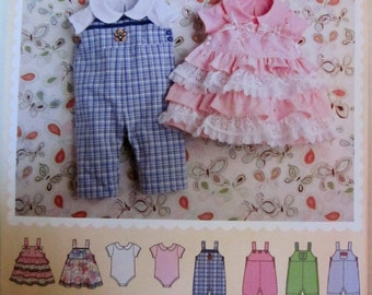 Simplicity 2459 Baby 2010s Romper Jumper Bodysuit Sewing Pattern 7 to 24 pounds
