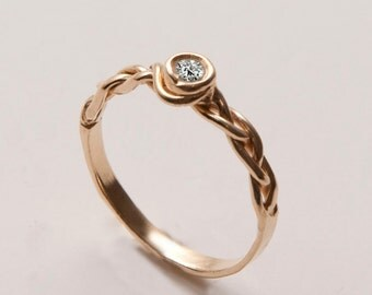 Braided Engagement Ring No.3 - 14K Gold and Diamond engagement ring, celtic ring, engagement ring, wedding band, unique engagement ring