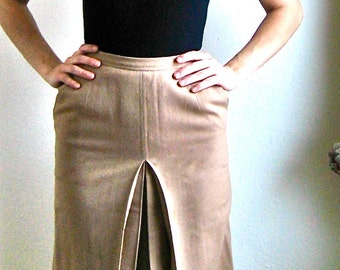 Vintage 1970s Wool Skirt Women's Camel Pencil Skirt Box Pleat 70s Knee Length Downton Abbey