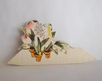 Vintage place card pots of flowers ephemera
